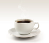 Coffee cup and saucer on a white background (clipping path).