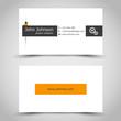 business card with orange sticker