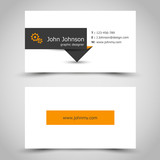 business card with dark sticker