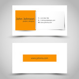 business card with orange square sticker