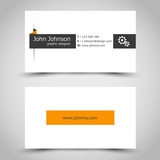 business card with orange sticker