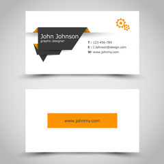 business card with dark paper sticker