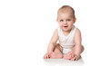 Close up of cute little baby boy isolated on white background
