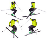 Collection of skier jumping freeride tricks on white