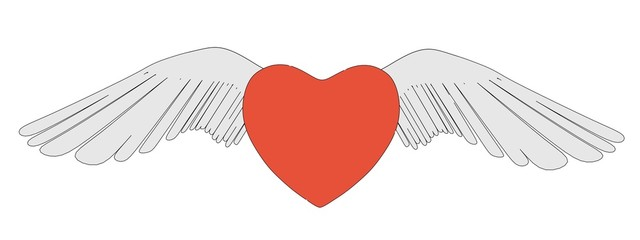 cartoon image of winged heart