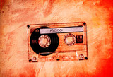 grungy retro orange cassette