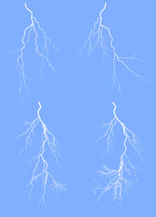 four white lightnings isolated on blue