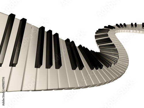 Amazing piano keys. Isolated.