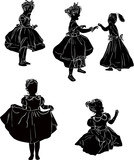 five isolated girl silhouettes