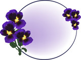 circle frame decorated by dark violet flowers
