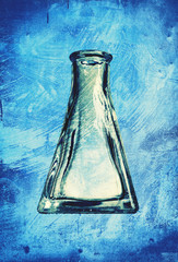 grungy glass flask