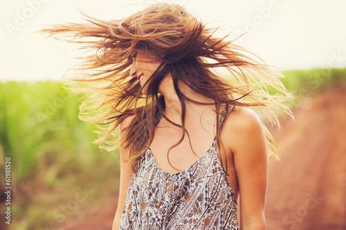 Leinwanddruck Bild Gorgeous Romantic Girl Outdoors. Summer Lifestyle