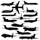 Collection of different aircraft silhouettes. vector illustrat