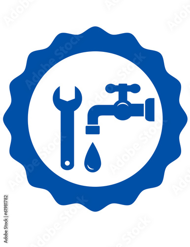 round icon with tap and wrench