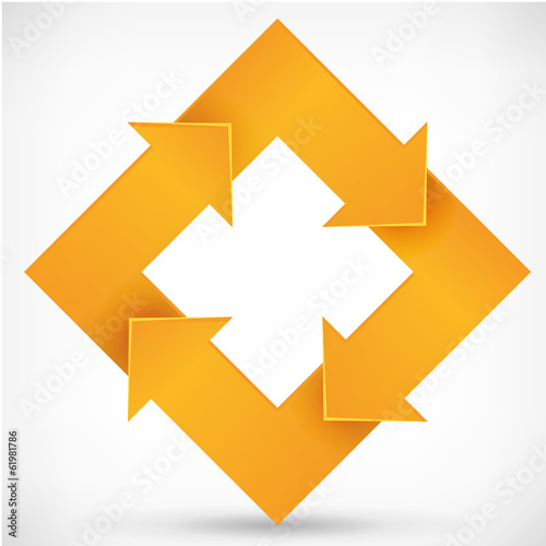 Square rotate arrow orange logo template