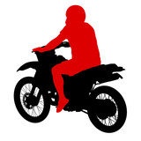 Black silhouettes sport bike on white background. Vector illustr