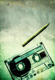grunge retro cassette tape pencil