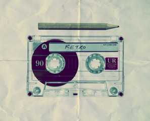paper texture retro music cassette
