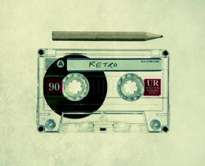 vintage cassette and pencil
