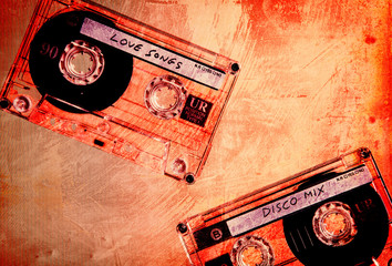 music cassettes orange grunge
