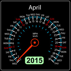 2015 year calendar speedometer car in vector. April.
