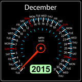 2015 year calendar speedometer car in vector. December.