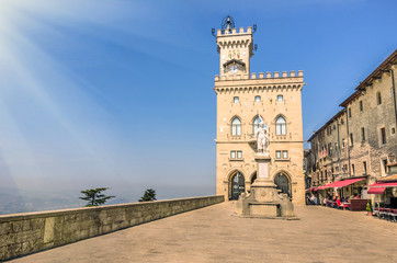 Public Palace and Statue of Liberty in San Marino Republic