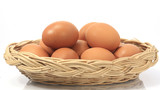 egg in basket isolated on white background