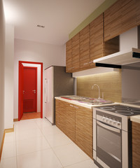wood kitchen room
