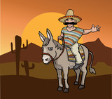 Mexican man on a donkey in a desert landscape