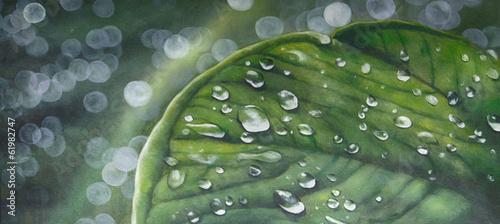 Fotobehang Olieverf Kunstdruk Blatt Wassertropfen Gemälde Ölgemälde Kunstdruck artprint