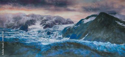 Fotobehang Olieverf Kunstdruk Küste Wellen Gemälde Ölgemälde Kunstdruck artprint