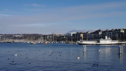 Panoramic view on Geneva lake and Jet d'Eau fountain