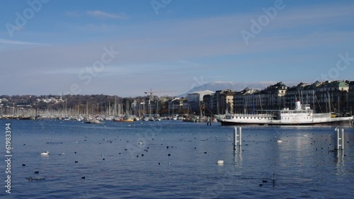Panoramic view on Geneva lake and Jet d'Eau fountain