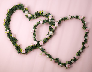 wedding - two hearts of fabric flowers