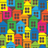 multicolored houses icon of seamless pattern