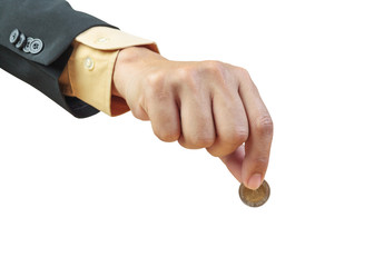business man hand putting coin on white background