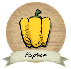 Hand drawn paprika icon, wooden background