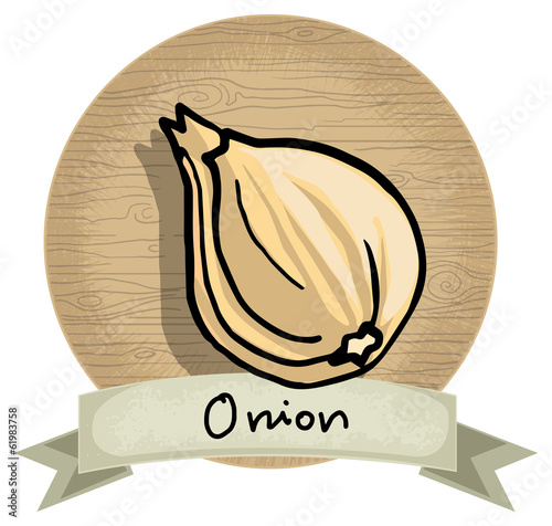Hand drawn onion icon, wooden background