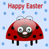 Happy easter background with ladybug