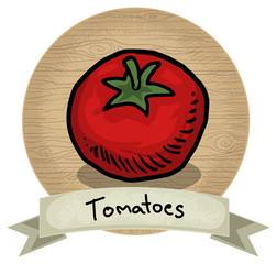 Hand drawn tomato icon, with name and wooden background