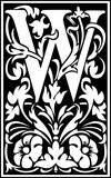 Flowers decorative English alphabet, letter W, Black and White