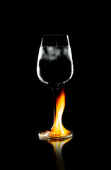 Wineglass in flame