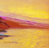 sunrise on the sea, painting, picture,  illustration
