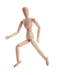 Wooden figure dummy running, isolated on white