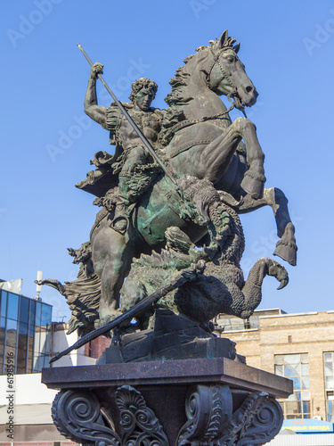 Russia , Moscow. Monument to St. George on Komsomolskaya Square