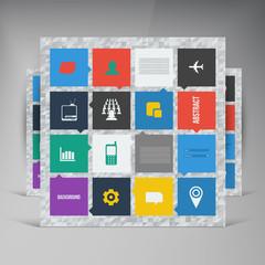 Vector flat UI design trend set icons.