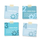 Set of isolated post it stick notes papers, vector illustration