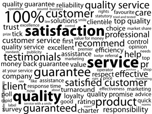 """SERVICE-QUALITY-SATISFACTION"" Tag Cloud (customer guarantee)"