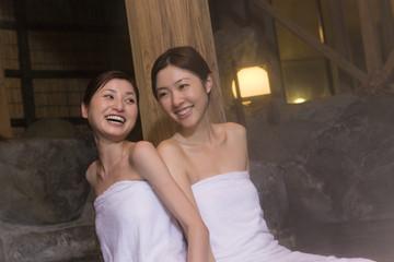woman enjoying hot spring